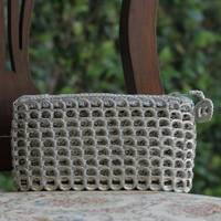 Soda pop-top cosmetic case, 'Gray Shimmer' - Soda pop-top cosmetic case