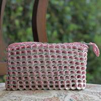 Soda pop-top cosmetic case, 'Pink Shimmer' - Soda pop-top cosmetic case