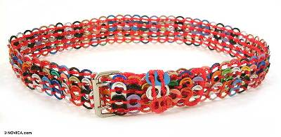 Artisan Crafted Multicolor Soda Pop Top Belt Red