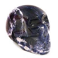 Sodalite statuette, 'Cloudy Blue Skull' - Hand Carved Sodalite Gemstone Sculpture