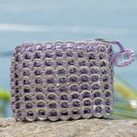 Soda pop-top coin purse, 'Lilac Style' - Soda pop-top coin purse