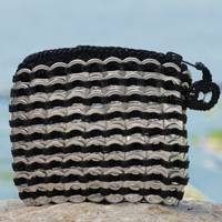 Soda pop-top coin purse, 'Black Style' - Soda pop-top coin purse