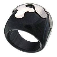 Onyx ring, 'Silver Crests' - Original Women's Onyx and Silver 925 Band Ring