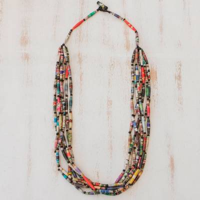 Long necklace, 'Rainbow Paths' - Hand Made Recycled Paper Long Necklace