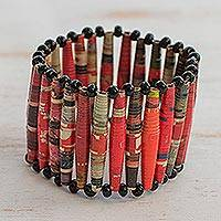 Recycled paper bracelet, 'The News is Hot' - Recycled Paper Stretch Bracelet