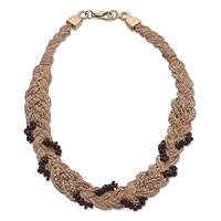 Gold and palm necklace, 'Noble Garnet Cascade' - Palm Beaded Garnet Necklace