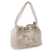 Leather Shoulder Bag, 'snowflowers' Picture