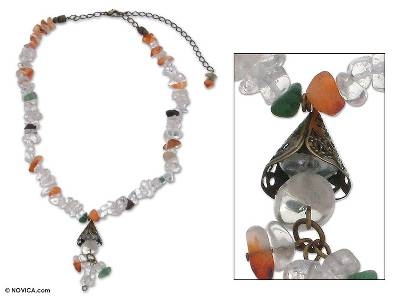 Quartz and agate necklace, 'Life Force' - Quartz and agate necklace