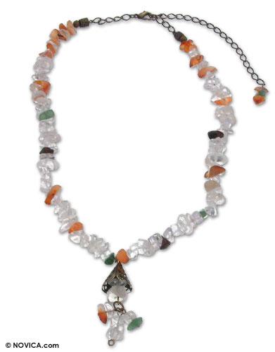 Quartz and agate necklace