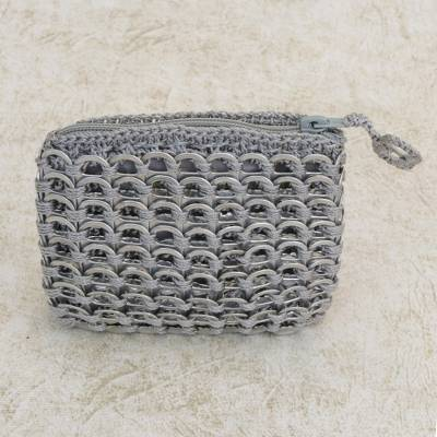 Soda pop-top coin purse, 'Gray Style' - Soda pop-top coin purse