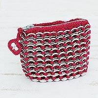 Soda pop-top coin purse, 'Fuchsia Style' - Handcrafted Brazilian Recycled Aluminum Coin Purse