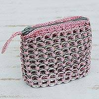 Soda pop-top coin purse, 'Pink Style' - Soda pop-top coin purse