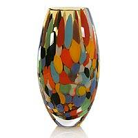 Handblown art glass vase, 'Carnival Confetti' - Murano Inspired Modern Hand Blown Glass Vase