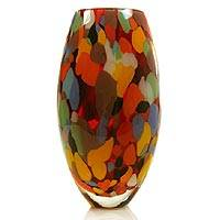 Handblown art glass vase, 'Carnival Colors'