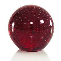 Handblown art glass paperweight, 'Vermilion Sphere' - Handblown Murano Inspired Glass Sculpture