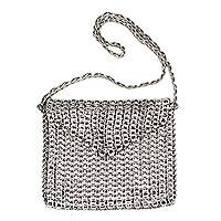 Soda pop-top shoulder bag, 'Tall Silver Eco-Charm' - Soda pop-top shoulder bag