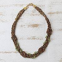 Peridot and palm necklace, 'Brazil Braid' - Unique Brazilian Palm and Peridot Necklace