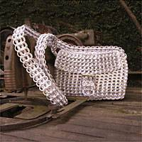 Soda pop-top shoulder bag, 'Silver Success' - Fair Trade Recycled Aluminum Shoulder Bag