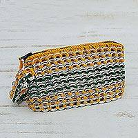Soda pop-top wristlet bag, 'Brazilian Spark' - Soda pop-top wristlet bag