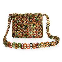 Soda pop-top shoulder bag, 'Autumn Style' - Recycled Aluminum Shoulder Bag from Brazil