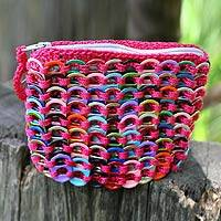 Soda pop-top coin purse, 'Hot Pink Confetti' - Aluminum Recycled Coin Purse