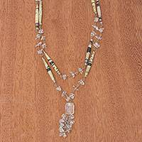 Quartz long necklace, 'Her Story' - Brazilian Recycled Paper and Quartz Necklace