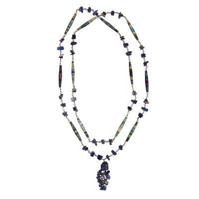 Sodalite Long Necklace Brazil Recycled Art