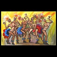 'Dancing Samba' - Dance and Music Folk Art Painting