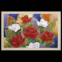 'Roses II' - Mixed Media Modern Painting