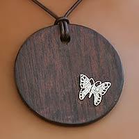 Leather choker, 'Pine Butterfly' - Leather choker