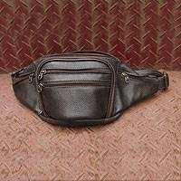 Leather fanny bag, 'Spatial Brown' - Leather fanny bag