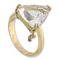 Gold and quartz ring, 'Twinkling Triangle'