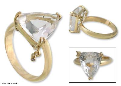 Gold and quartz ring, 'Twinkling Triangle' - Gold and quartz ring