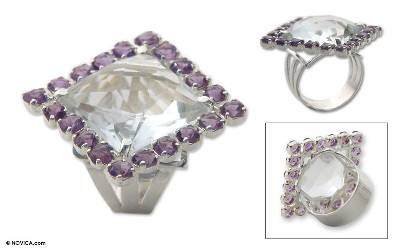 Crystal and amethyst cocktail ring, 'Marvelous' - Crystal and amethyst cocktail ring