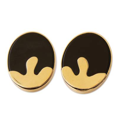 Handcrafted 18k Gold and Onyx Button Earrings