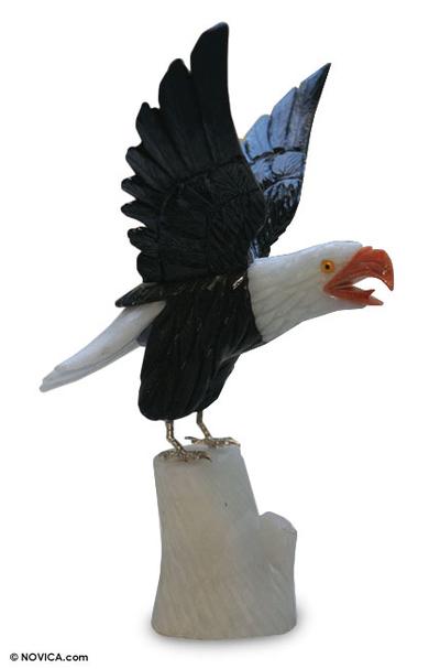 Calcite and onyx statuette