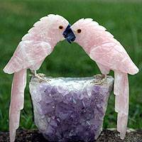 Rose quartz and amethyst statuette, 'Lovebirds' - Artisan Crafted Quartz and Amethyst Bird Sculpture