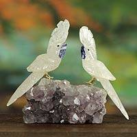 Quartz and amethyst statuette, 'Cockatoo Couple' - Hand Crafted Quartz and Amethyst Gemstone Sculpture