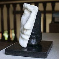 Marble resin sculpture, 'Mask in Black and White' - Marble resin sculpture