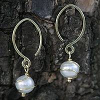 Gold and pearl dangle earrings, 'Golden Spiral' - Solid 18k Gold and Pearl Dangle Earrings