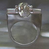 Quartz solitaire ring, 'Teacher' - Designer Quartz Solitaire and Sterling Silver 925 Ring