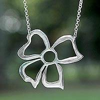 Sterling silver flower necklace, 'Bow of Victory' - Sterling silver flower necklace