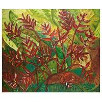 'Heliconia' - Floral Acrylic Painting