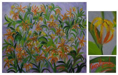 'Spider Lily' - Floral Acrylic Painting from Brazil
