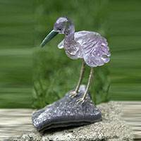 Amethyst and quartz statuette, 'Purple Heron' - Amethyst and Quartz Bird Statuette from Brazil