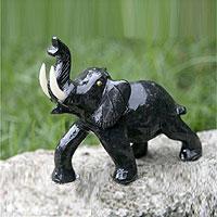 Dolomite statuette Black Elephant Brazil