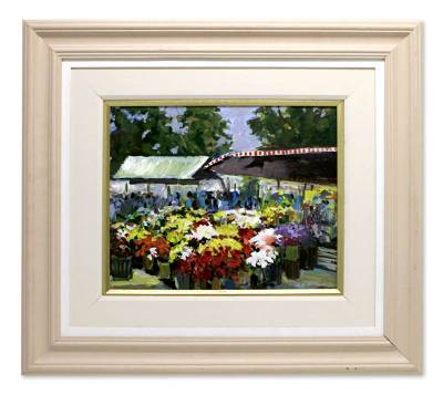 'Flower Stand' - Floral Impressionist Painting