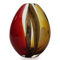 Handblown art glass vase, 'Crimson and Amber Power' - Hand Blown Murano Inspired Glass Vase