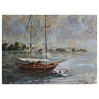 'Boat in the Gloria Marina' (2008) - Landscape Painting Brazil Fine Art