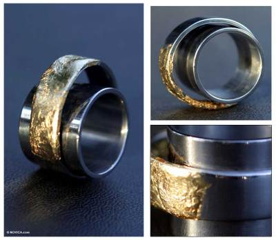 Men's gold and steel ring, 'Duplicity' - Men's gold and steel ring